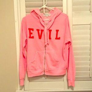"Wildfox full zip ""EVIL"" hoodie w horns - sz M"